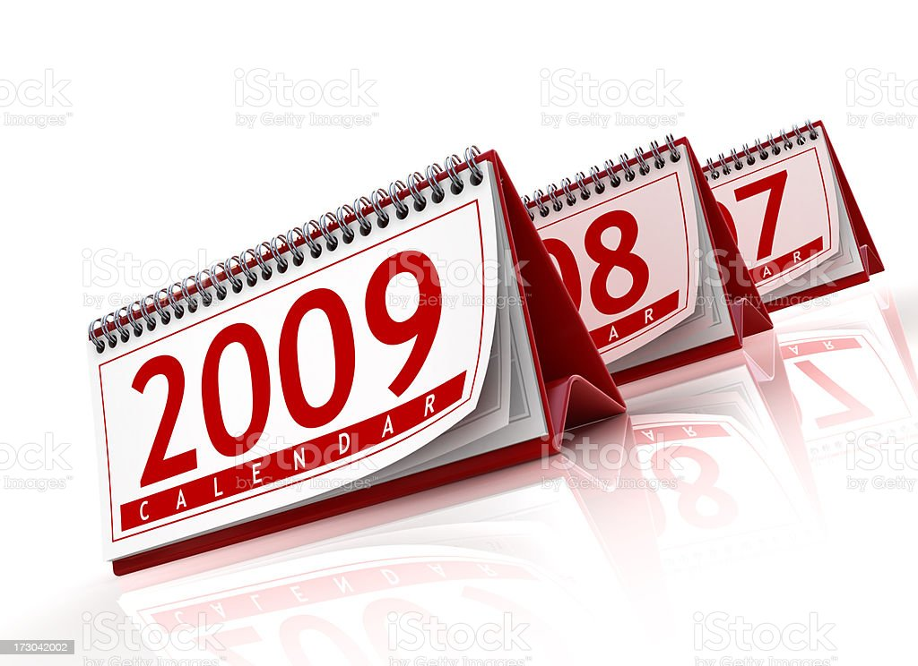 calendars now and then - 2009 royalty-free stock photo