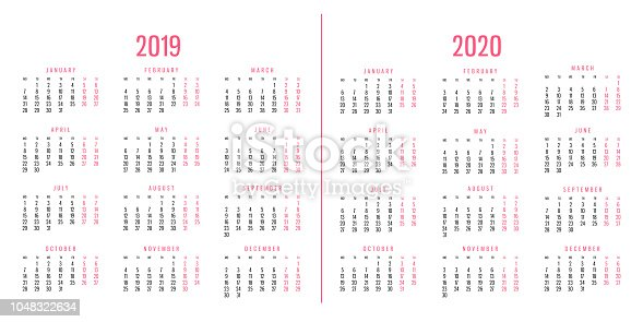 1124594277 istock photo Calendars of 2019 and 2020 1048322634