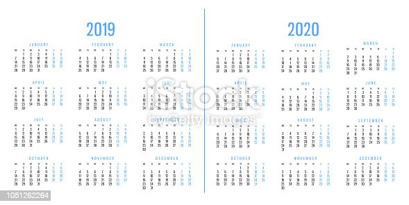 945046208 istock photo Calendars of 2019 and 2020 1051262264
