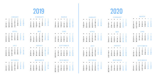 Calendars of 2019 and 2020 stock photo