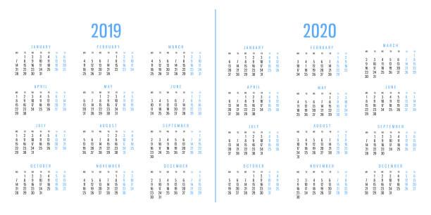 Calendarios de 2019 y 2020 - foto de stock