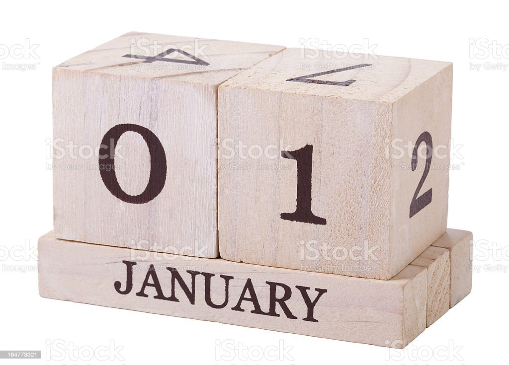 Calender 1st January with clipping path royalty-free stock photo