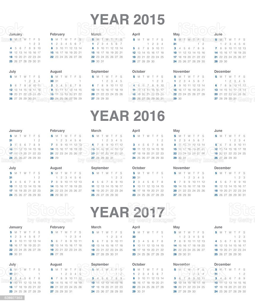 Calender 2015, 2016, 2017 stock photo