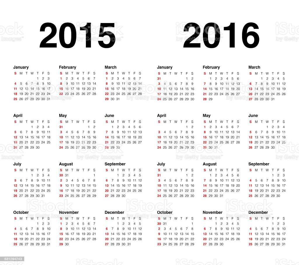 Calender 2015 and 2016 stock photo