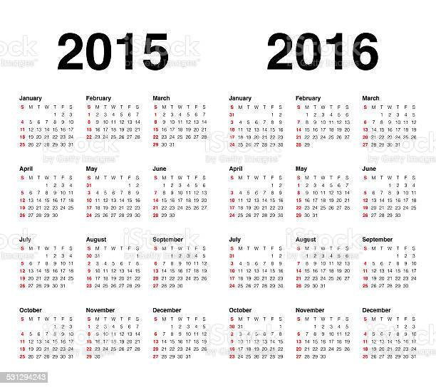 Calender 2015 And 2016 Stock Photo - Download Image Now - iStock