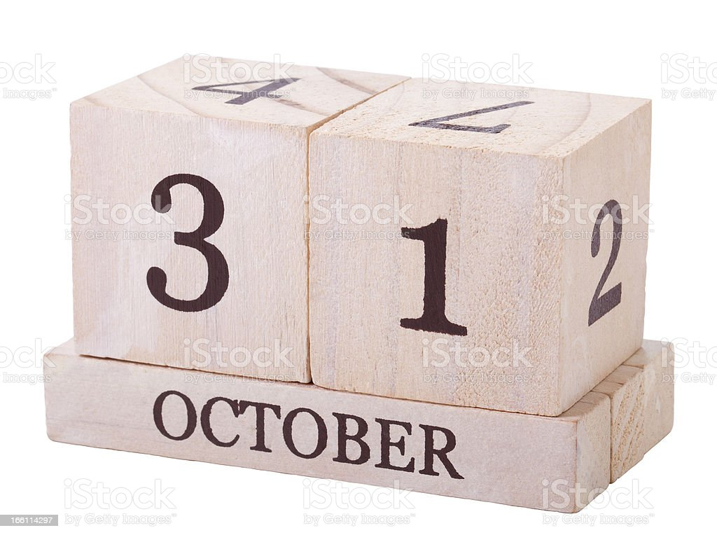 Calender 31st October with clipping path royalty-free stock photo