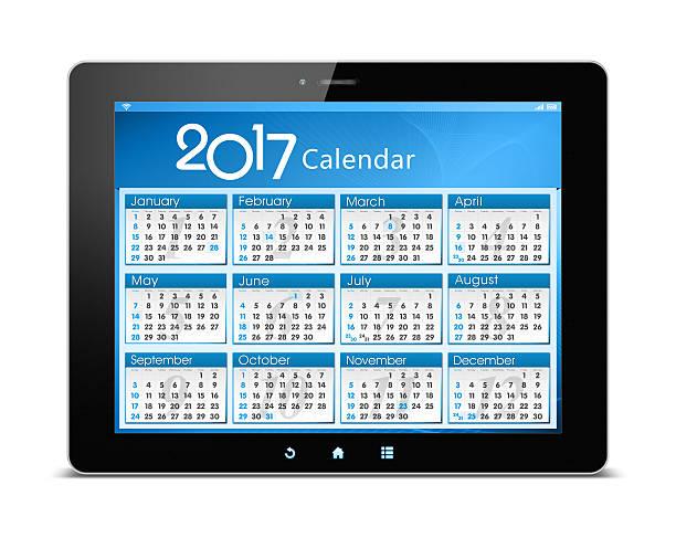 calender of 2017 on digital tablet isolated - chinesischer kalender stock-fotos und bilder