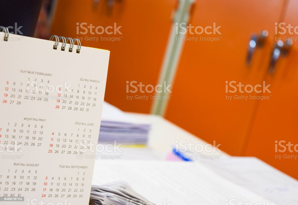 calender on business table office stock photo