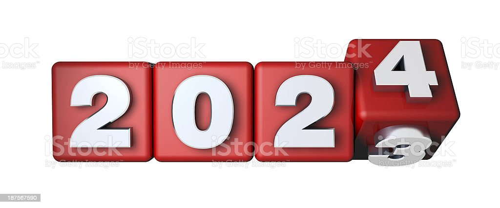 2024 Calender on the red cubes stock photo