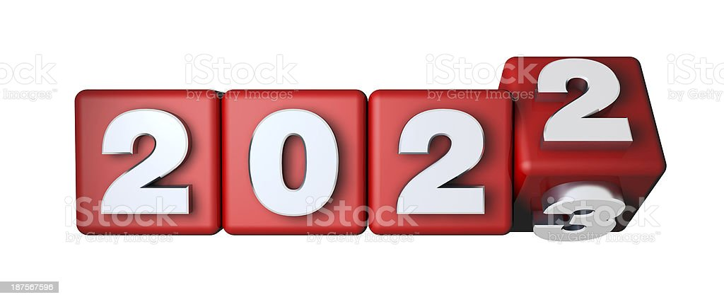 2022 Calender on the red cubes stock photo