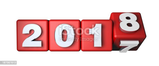 istock 2018 Calender on the red cubes 187567613