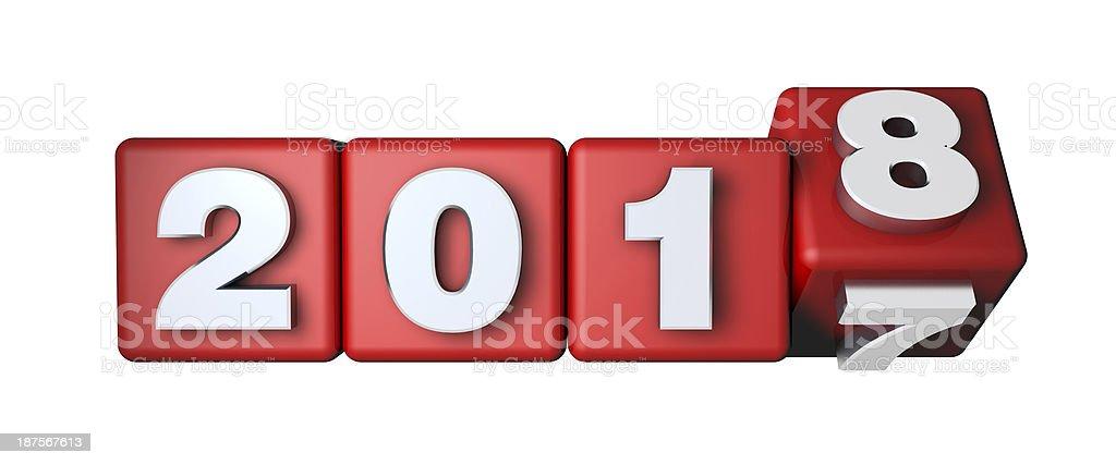 2018 bevorstehende auf der rote Würfel – Foto