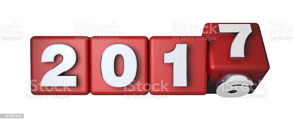 2017 calendrier sur les cubes de rouge - Photo de 2016 libre de droits