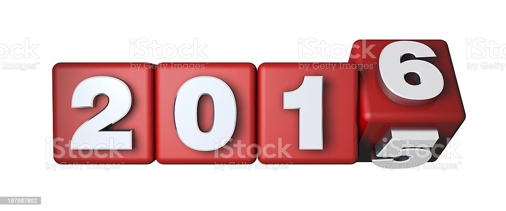 2016 Calender on the red cubes stock photo