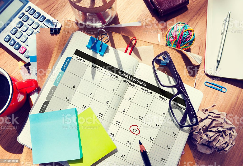Calender Planner Organization Management Remind Concept stock photo
