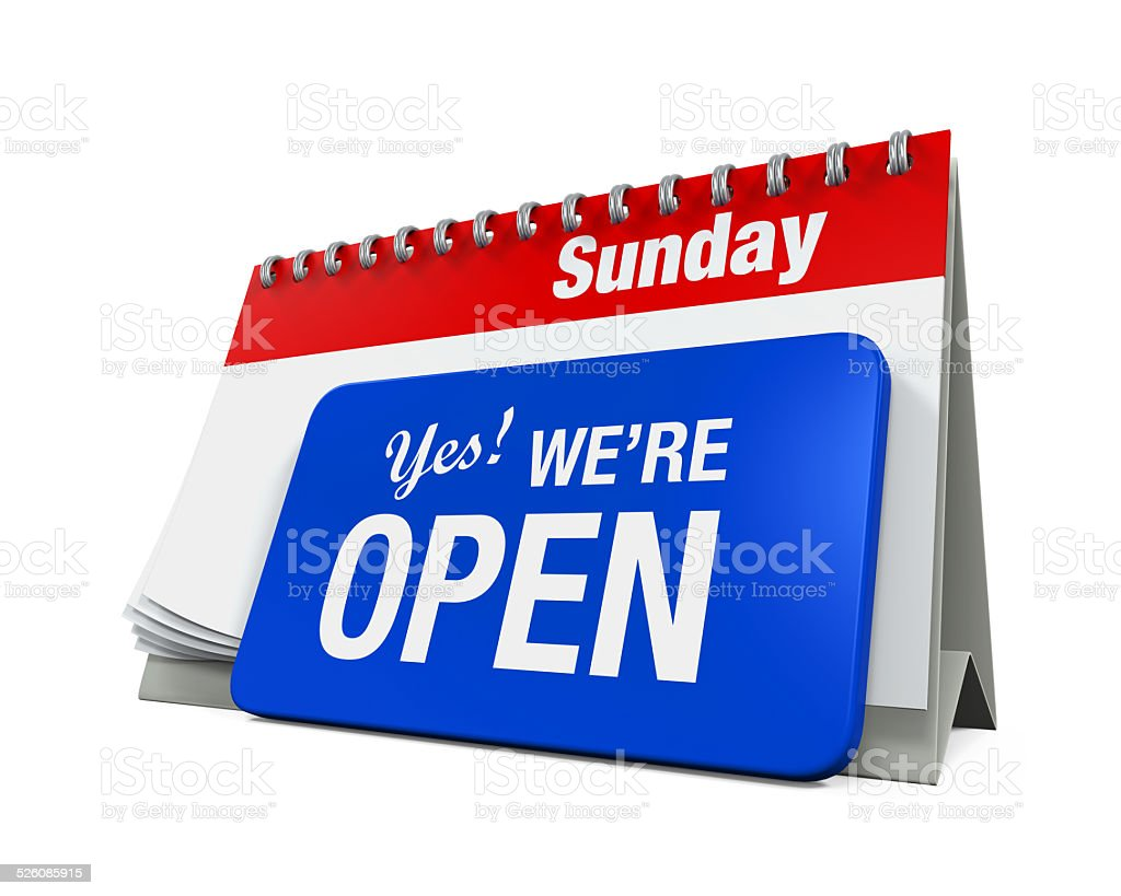 Calender with Yes We're Open Sign stock photo