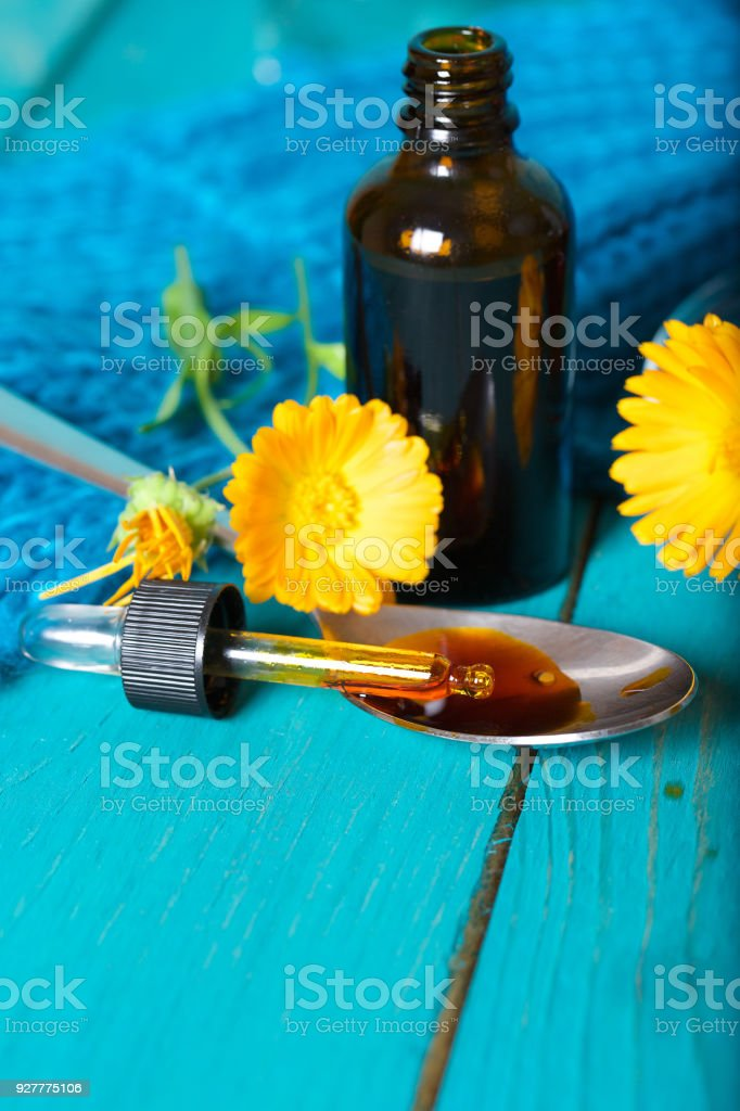 Calendula Tincture For Mouth Rinsing Stock Photo - Download Image