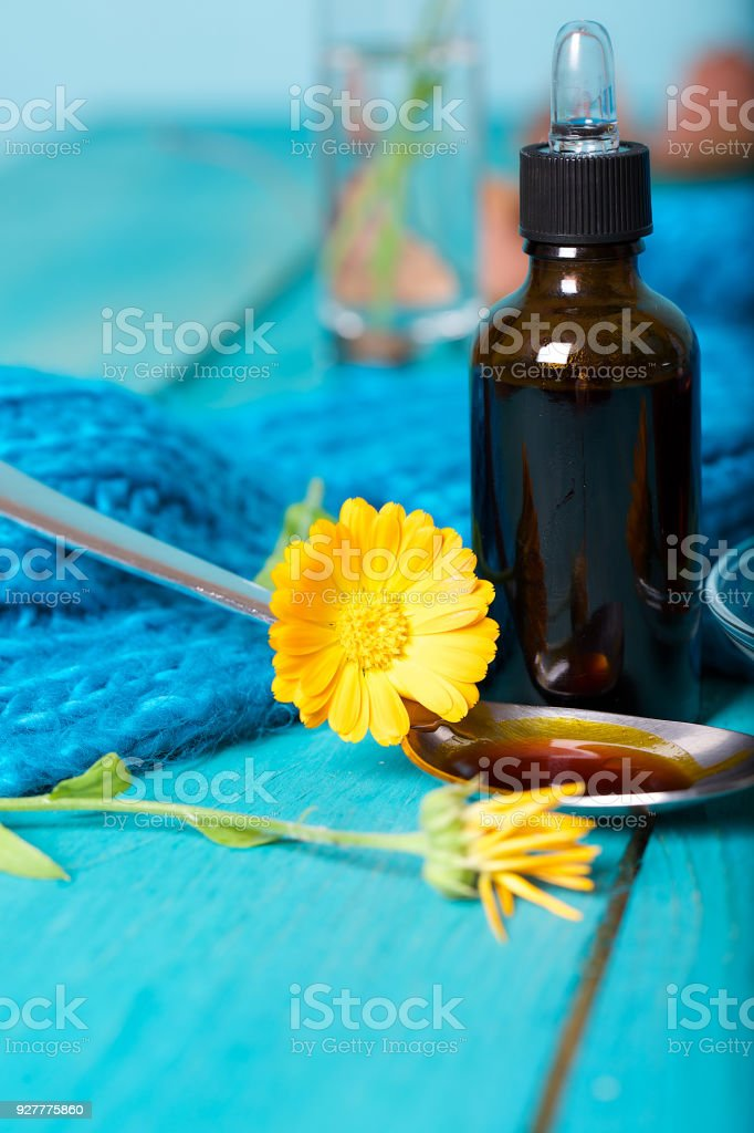 Calendula Tincture For Mouth Rinsing Stock Photo & More Pictures of