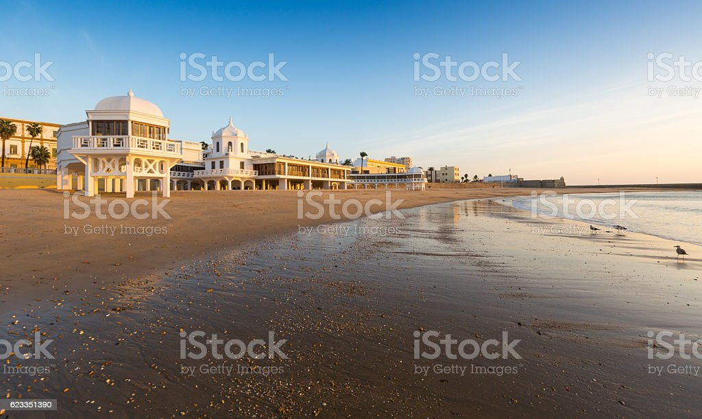 Caleta  Beach in sunrise time. Cadiz stock photo