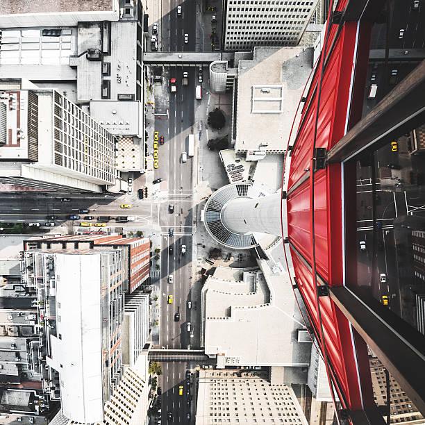 calgary luftbild der stadt - kanada rundreise stock-fotos und bilder