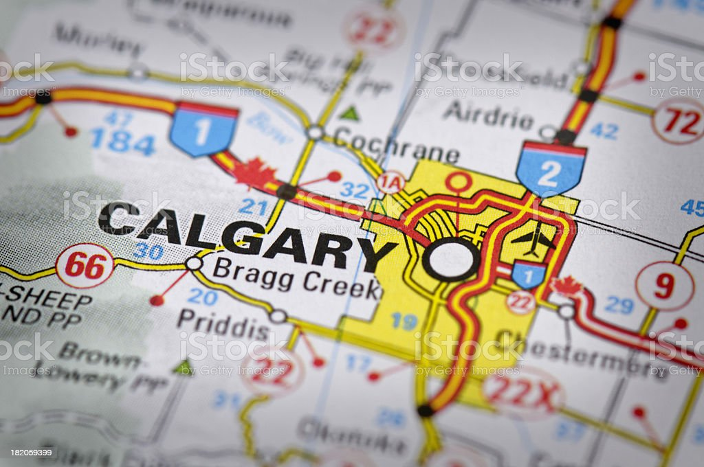 Calgary, Alberta, Canada map stock photo
