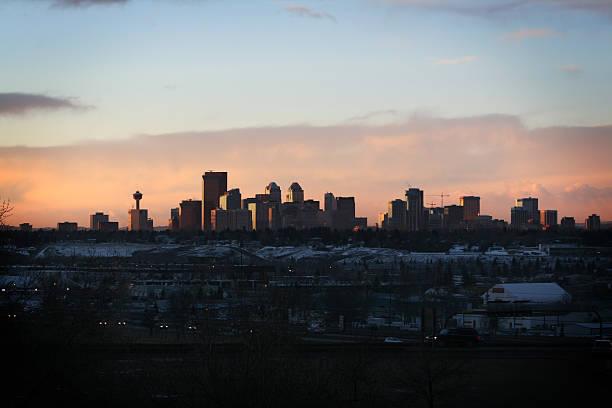 Calgary at dawn stock photo
