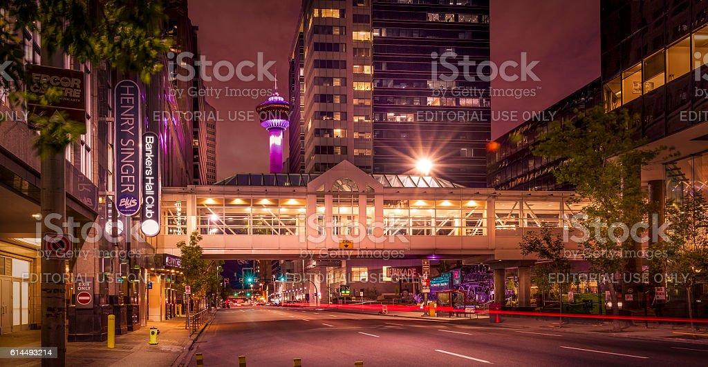Calgary city center with Calgary Tower stock photo