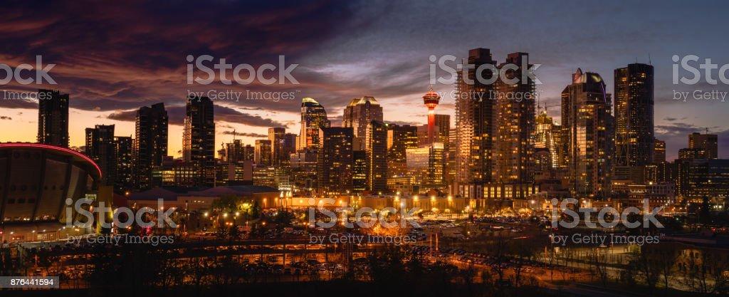Calgary city skyline at night stock photo