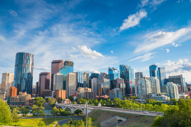 calgary city skyline - canada stock photos and pictures
