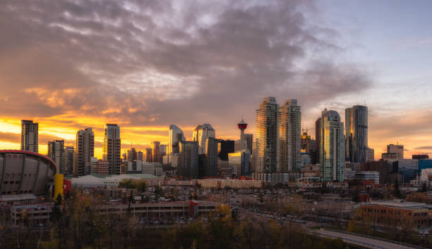 Calgary downtown skyline at sunset stock photo