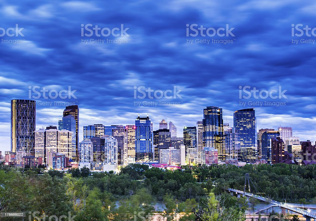 Calgary Downtown with newly finished Encana building stock photo