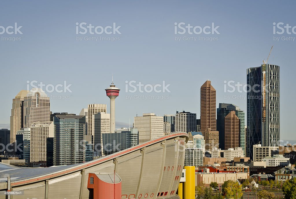 Calgary downtown with Saddledome stock photo