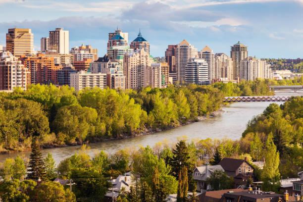 Calgary - panorama of city stock photo