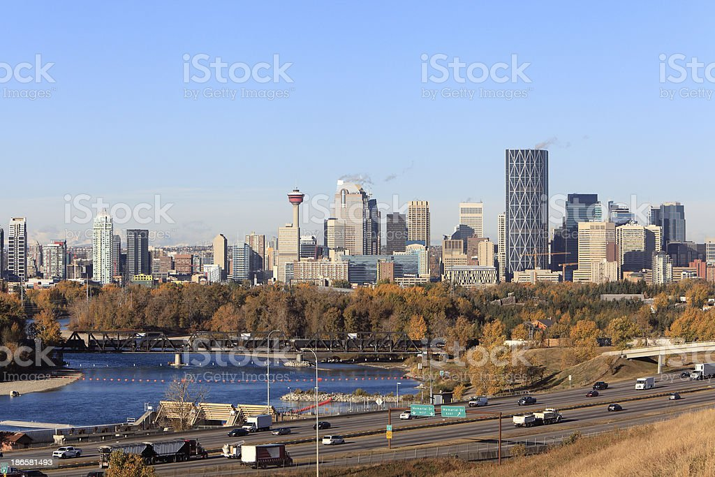 Calgary Skyline And Bow River In Fall stock photo
