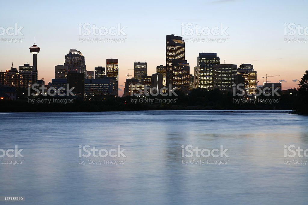 Calgary Skyline and Bow River Twilights royalty-free stock photo
