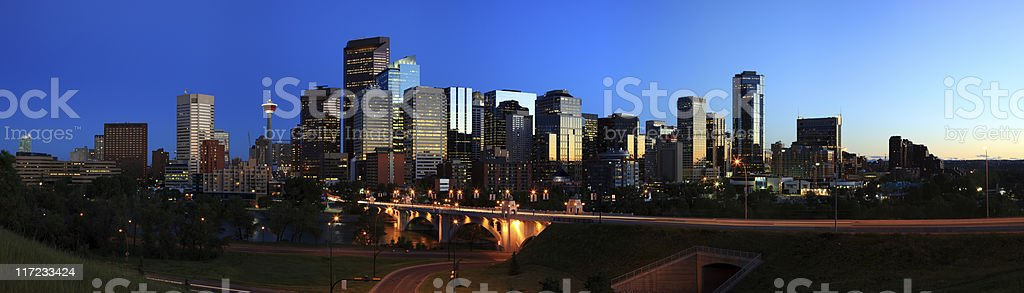 Calgary skyline at night in Canada stock photo