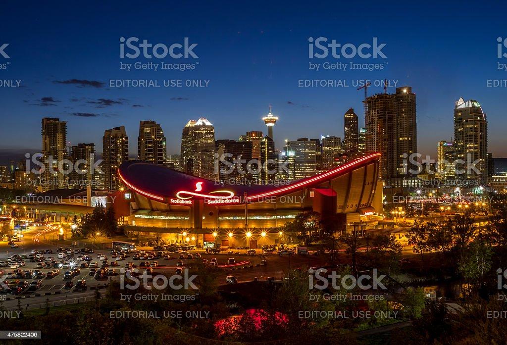 Calgary skyline at night stock photo