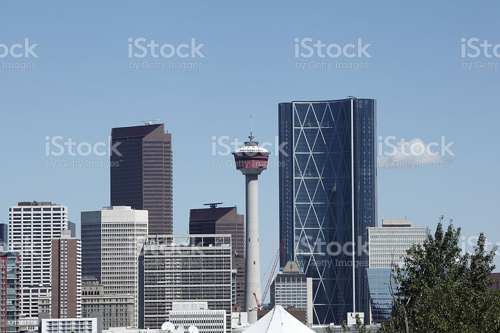 Calgary Skyline Close Up With  Bow Tower stock photo