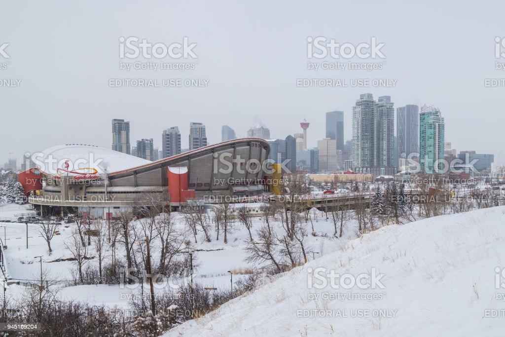 Calgary Skyline in the winter stock photo