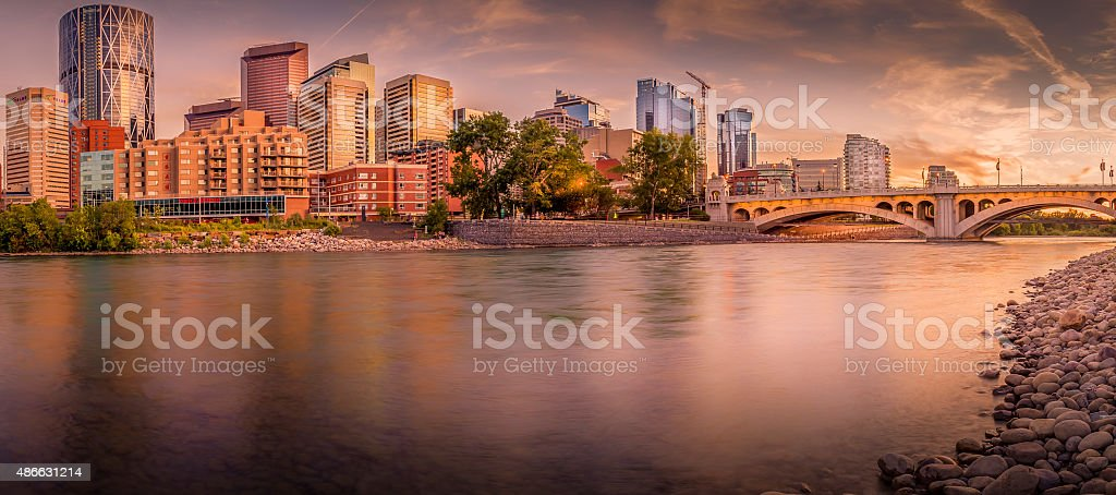 calgary skyline with bow river in foregraound stock photo
