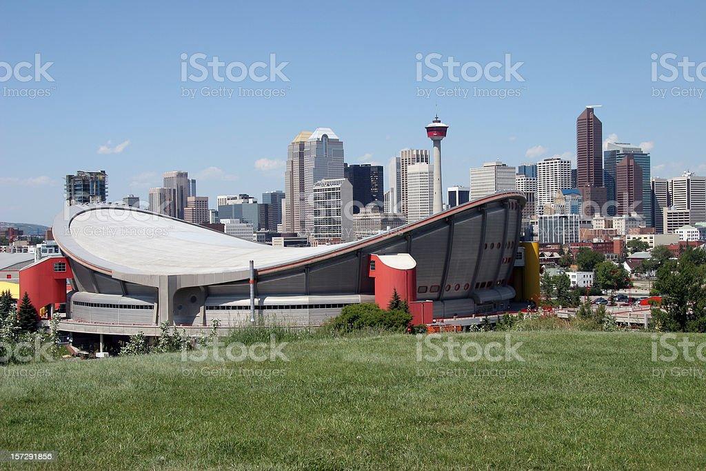 Calgary Skyline With Full Saddledome stock photo