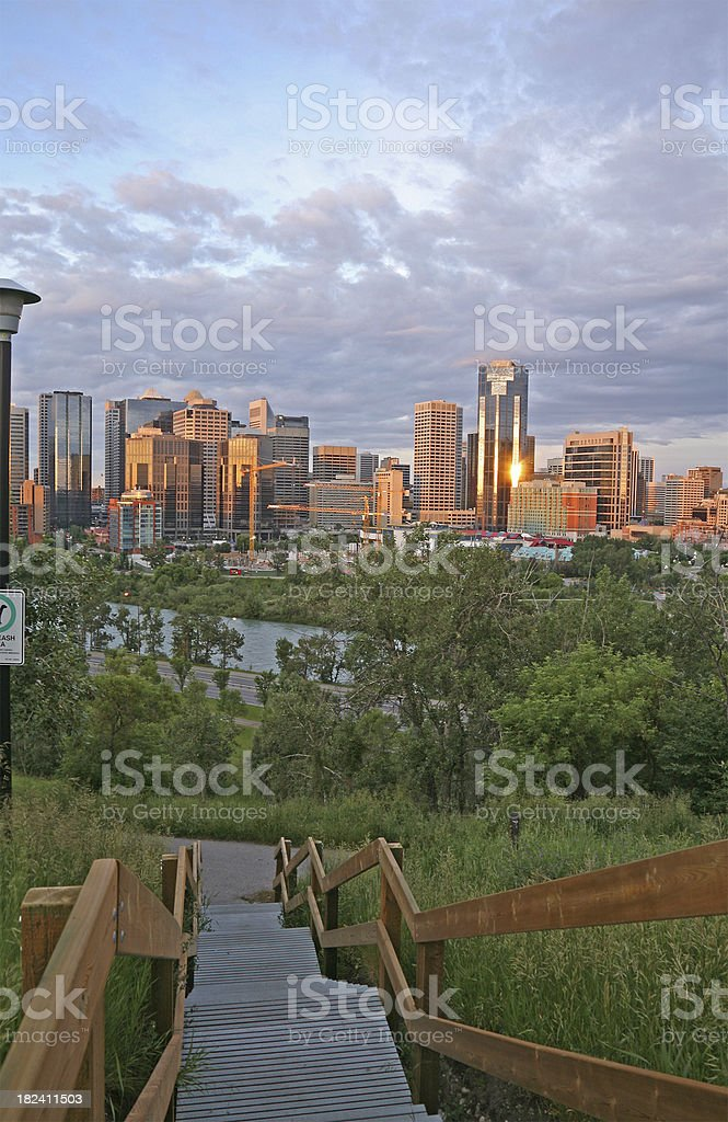 Calgary Sunrise With Stairs royalty-free stock photo