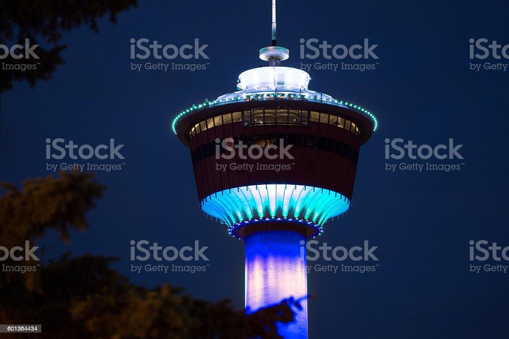 Calgary Tower at Night-Blue stock photo