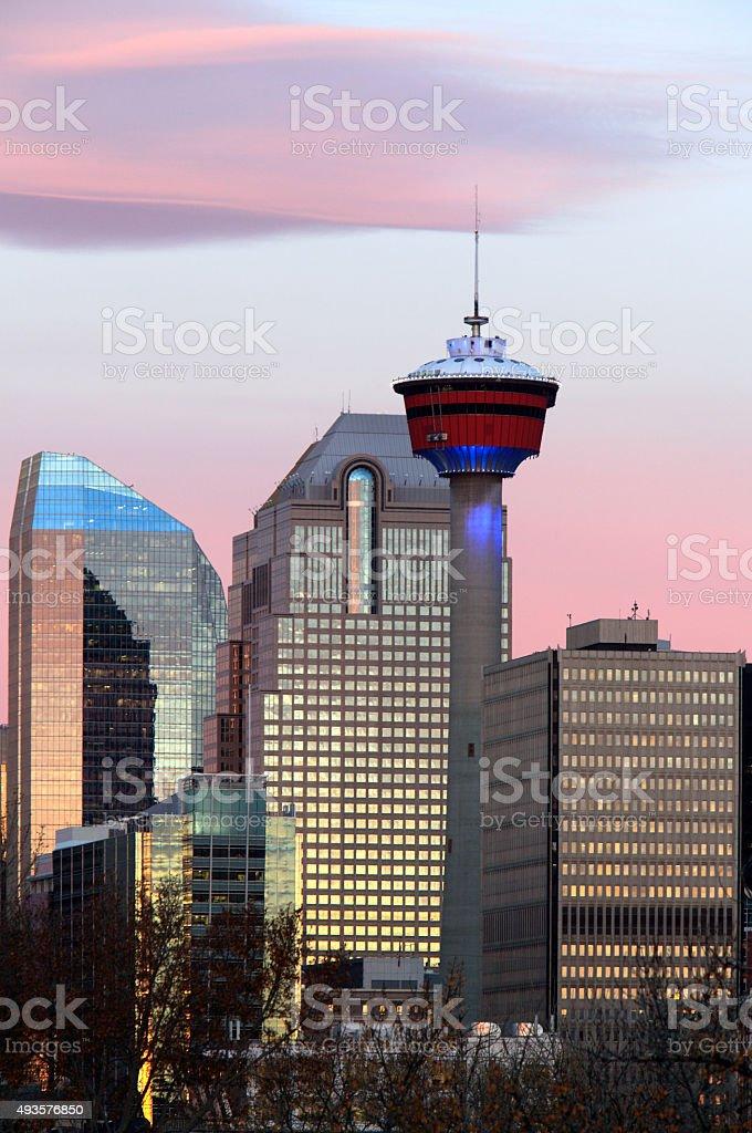 Calgary Tower Blue At Sunrise stock photo
