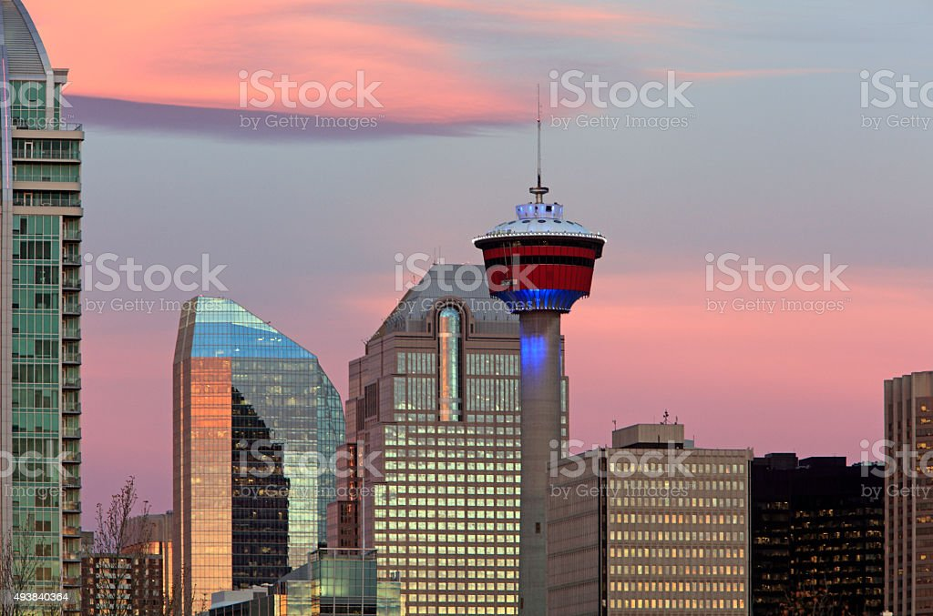 Calgary Tower Blue With Pink Sunrise stock photo