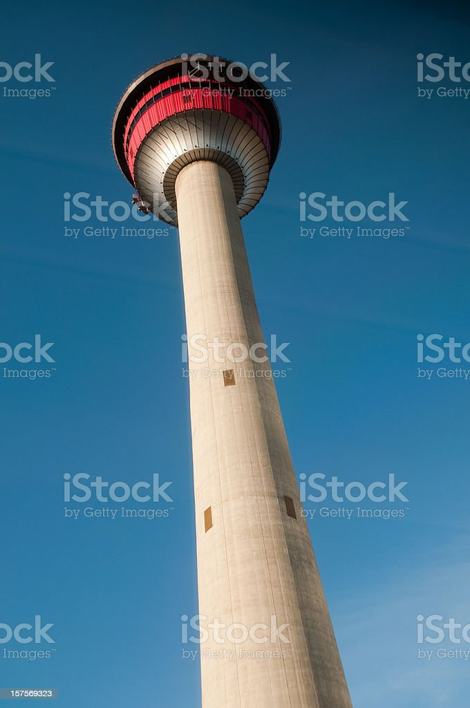 Calgary tower early morning tall vertical stock photo