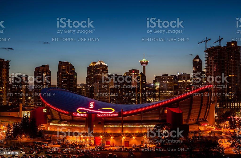Calgary's Skyline at Night stock photo