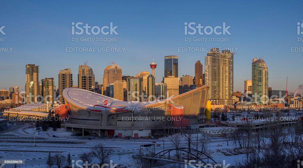 Calgary's skyline at sunrise stock photo