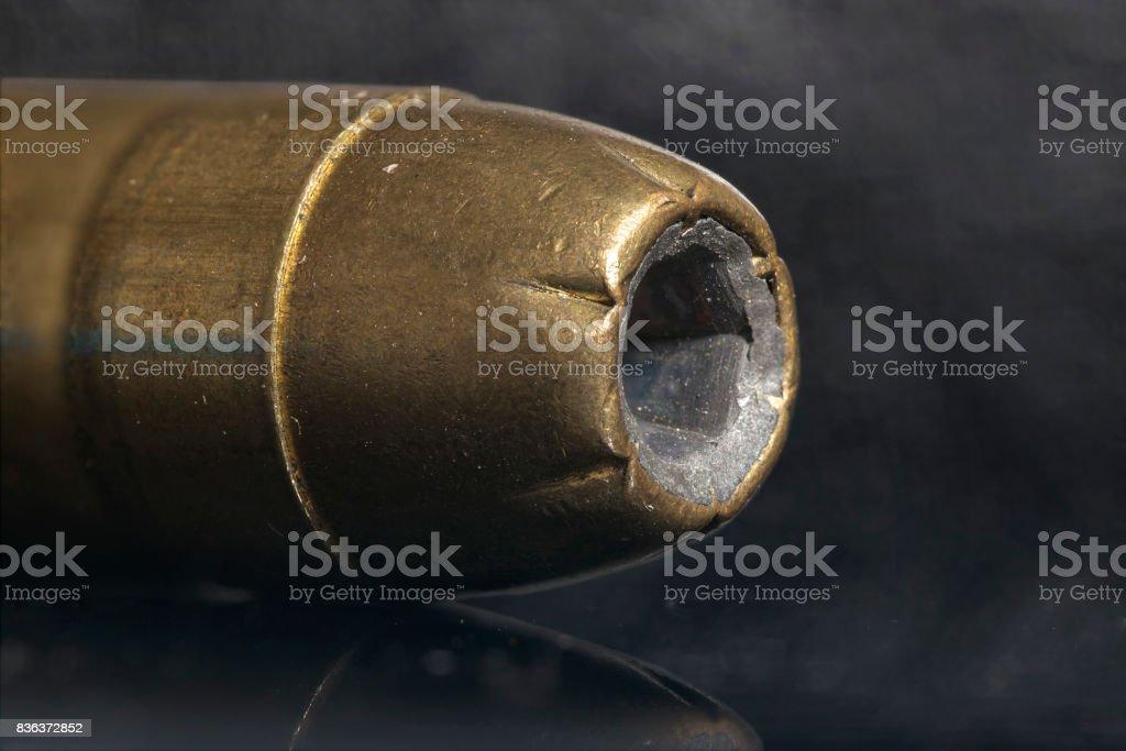 45 caliber gun round, closeup macro, focus stacked stock photo