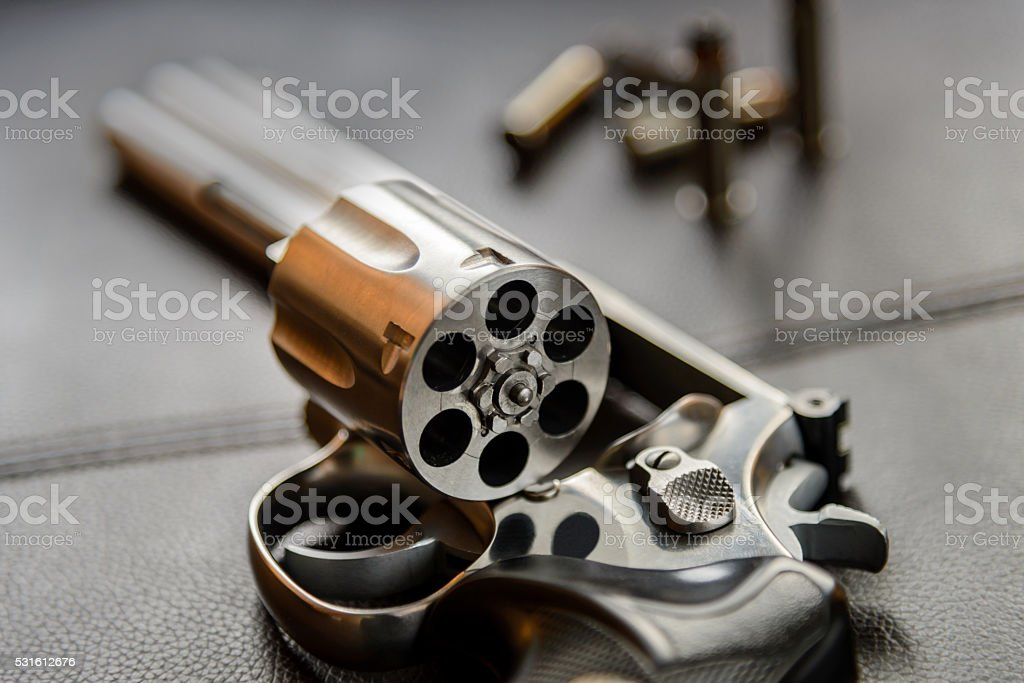 357 Caliber Revolver Pistol Revolver Open Ready To Put Bullets Stock